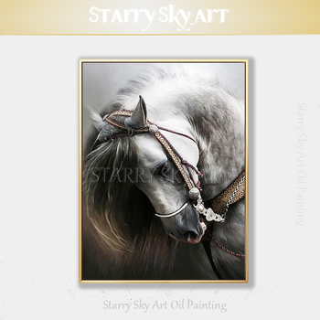 Beautiful Wall Art Hand-painted Impressionist White Horse Oil Paining on Canvas White Horse Head Oil Painting for Living Room