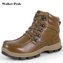 WalkePeak Winter Hiking Shoes Men Waterproof Genuine Leather Shoes Adventure Outdoor Camping Boots For Men Size 14 Treking footwear
