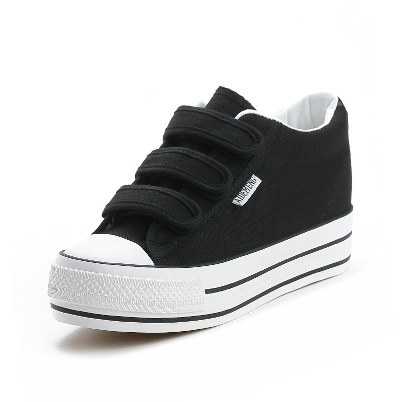YeddaMavis Women Shoes Women Sneakers New Black Low Top Canvas Shoes Muffin Bottom Womens Shoes Woman Trainers Zapatos De Mujer in Women 39 s Vulcanize Shoes from Shoes
