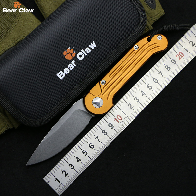 Bear claw LUDT folding knife D2 blade 6061-T6 Aluminum alloy handle outdoor camping hunting pocket fruit kitchen Knives EDC tool szblaze 6061 aluminum alloy tube clap long track ice speedskating blades frames 60hrc dislocation skate shoes knife 1 1mm frame