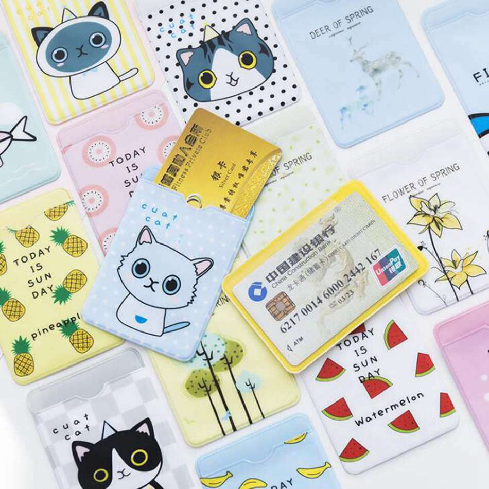 Cartoon Cat PVC Card Holder Credit Student Cute  ID Cover Students School Bus Business Bancaire Card Holder Protector