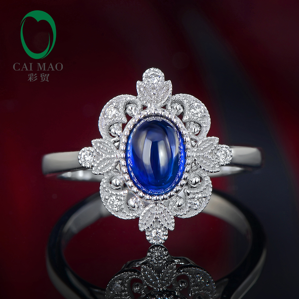 CaiMao Cabochon Cut Natural Sapphire Ring Vintage Design White Diamonds 14kt White Gold Engagement Jewelry caimao exquisite jewelry natural cabochon cut emerald baguette cut diamond 14kt white gold drop earrings