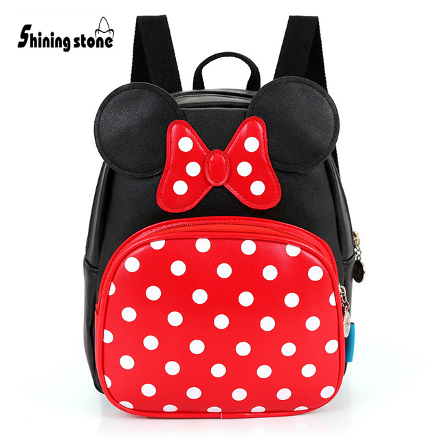 Baby Girls Backpacks with Dots and Bowtie Pink Minnie Back Bags Cartoon  Character School Bags Leather Waterproof Kids Backpack 1cb49d0e90710