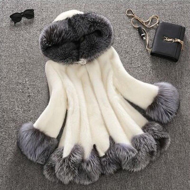 2019 Winter New Women's Artificial Fur Mink Hair Coat Casual Thicken Hooded Fur Coat Fashion Imitation Fur Slim Hooded Coat