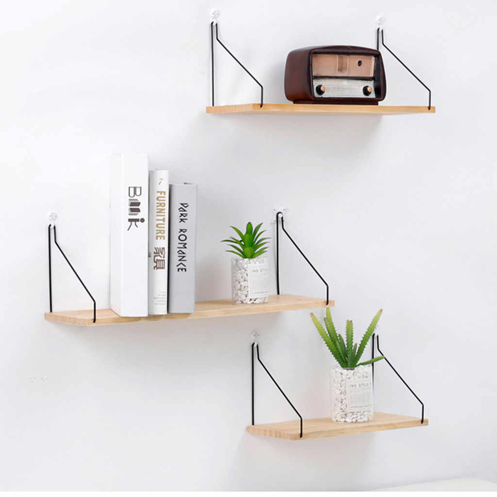 Wall Shelf Wooden Floating Shelving Home Decorative Storage Mounted Rack Office