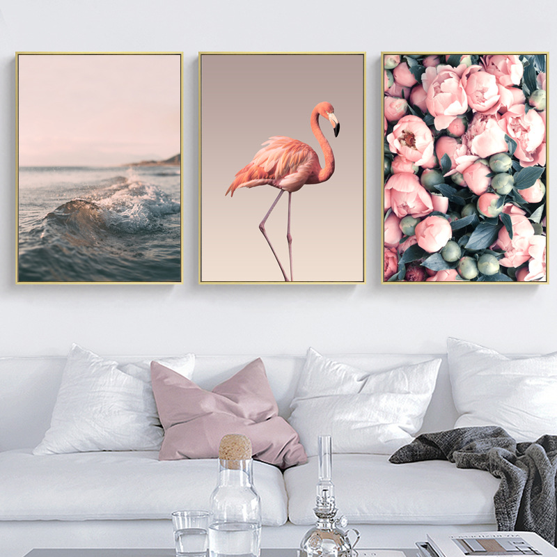 Pink Flowers Flamingo Waves Nordic Wall Art Canvas Painting Posters and Prints Home Decor Wall Picture for Living Room Bedroom in Painting Calligraphy from Home Garden