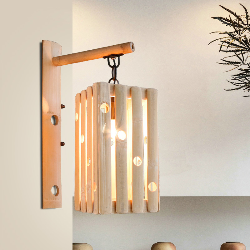 Chinese Style Retro Rural Style Bamboo Concise Wall Lamp Cafe Bar Restaurant Aisle Bedroom Parlor Decoration Lamp Free Shipping background spider led wall lamp personality retro industrial restaurant cafe aisle ant insect decoration lamp free shipping