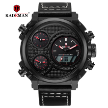 KADEMAN Luxury Mens Watches New LED Display Casual Leather Wristwatches 3ATM Sport Man Digital Watch TOP Brand Relogio Masculino цена