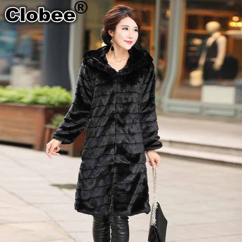 5XL 4XL XXXL Kış X Uzun Tasarım Çizgili Siyah Kürk Palto Artı Boyutu Kadın Giyim Kış Ceket bir başlık