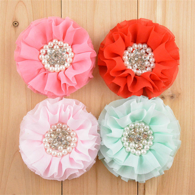 20pcs/lot 16 Color U Pick 3.15 Inch Large Chiffon Beaded Ruffled Flowers Pearl Rhinestone In Center DIY Hair Accessories FH24 30pcs lot 28 color u pick handmade 3 chiffon rolled rosette boutique hair flowers diy girls hair accessories fh28