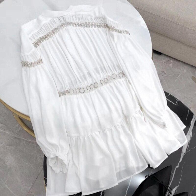 カジュアル中空アウトパッチワークドレス女性ハイウエストの Bitcoin ネック女性のドレスエレガントなファッション 新しい 10