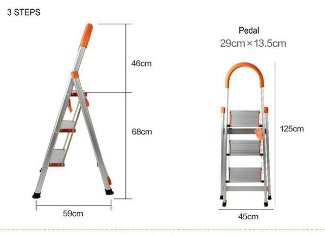 3 Steps Folding Light Type Aluminum Step Ladder Staircase, Ladder With Long  Handrail, Rubber
