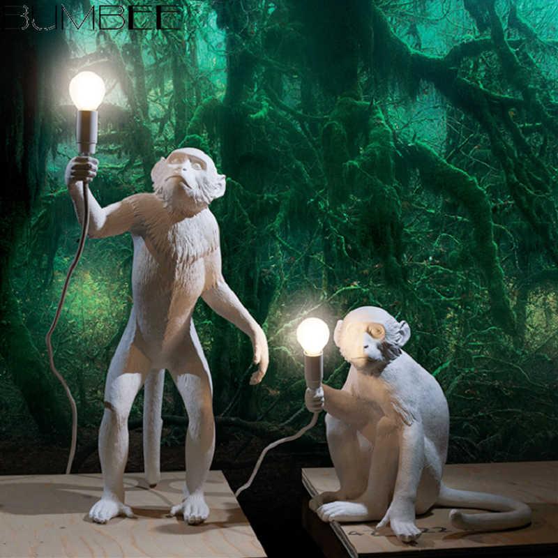 Современные подвесные светильники, золотые светодиодные лампы с обезьяной из смолы для гостиной, ресторана, бара, спальни, кухни, подвесные светильники, светильник