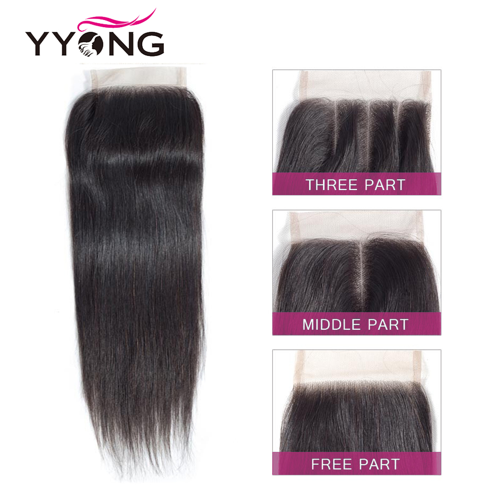 Image 4 - Yyong Brazilian Straight Hair Lace Closure Free/Middle/Three Part 100% Remy Human Hair 4X4 Medium Brown Swiss Lace Top Closure-in Closures from Hair Extensions & Wigs