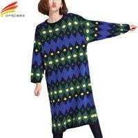 Autumn Fashion New Plus Size Sweater Dress O Neck Loose Knitting Cotton Striped T Shirt Dress