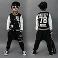 2017 Del Otoño Del Resorte ropa para niños set bad boy Imprimir Traje kids trajes del deporte patchwork Hip Hop danza pantalón y sudadera