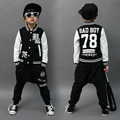 2017 Spring Autumn children's clothing set bad boy Print Costume kids sport suits patchwork Hip Hop dance pant & sweatshirt