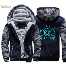 Japanese Anime Uzumaki Naruto Hoodie Coat Men Night Light Luminous Sweatshirts Winter Fleece Thick Jacket Harajuku Streetwear