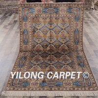Yilong 4'x6' Blue Silk Artwork of Handmade Silk Carpet Persian Rug (LH12A4x6)