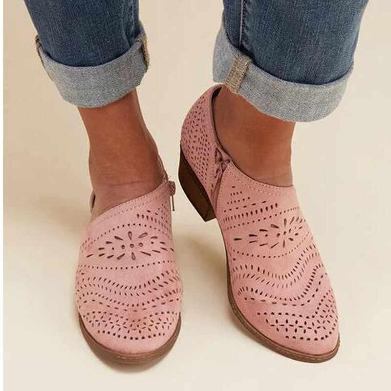 2019 Moda Kadın Çizmeler İlkbahar Yaz Blok Düşük Topuk Bayanlar Patik PU Deri Botines Oymak Ayak Bileği Platformu Botas Mujer