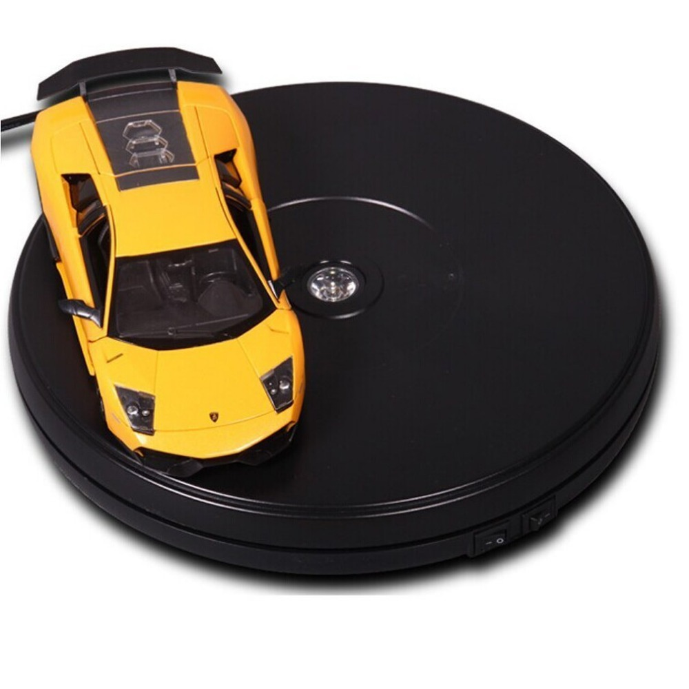 25cm Black Diameter Electric Rotary Heavy Duty Rotating Display Stand Rotary Motorized Turntable With LED Light