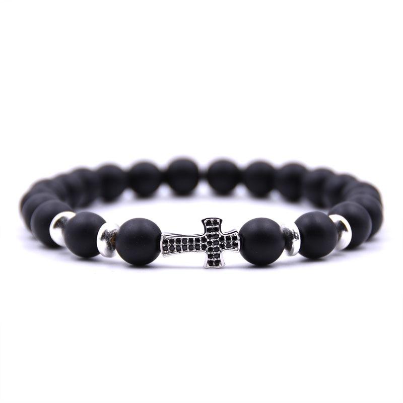 HONEYYIYI Micro Pave CZ Cross Charms Bracelet Men 8mm Matte Stone beads Bracelets for women Men Jewelry pulseras