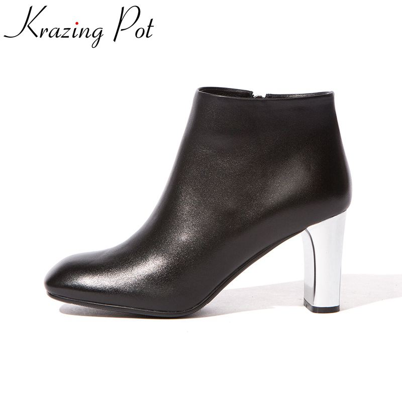 2018 superstar cow leather fashion winter boots square toe riding high heel zipper office lady concise handmade ankle boots L2f1 2018 superstar cow suede streetwear square toe zipper high heels winter boots keep warm office lady ankle boots for women l50