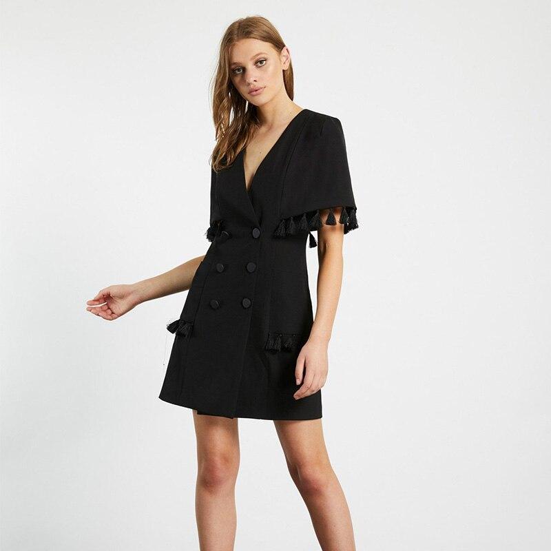 DEIVE TEGER femmes noir Mini robe cape manches d'été bouton à manches courtes col en V soirée robe de soirée 2019 été BY887