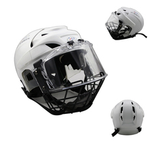 New design Free shipping Ice Hockey Player Helmet Head Protector Hockey Helmet with A3 steel cage clear visor face shield