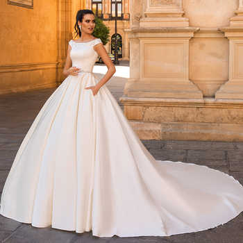 Cap Sleeve Button Up Appliques Beading Crystal Belt France Satin White Ball Gown Wedding Dresses Plus Size Vestido De Noiva 2019 - DISCOUNT ITEM  23% OFF All Category