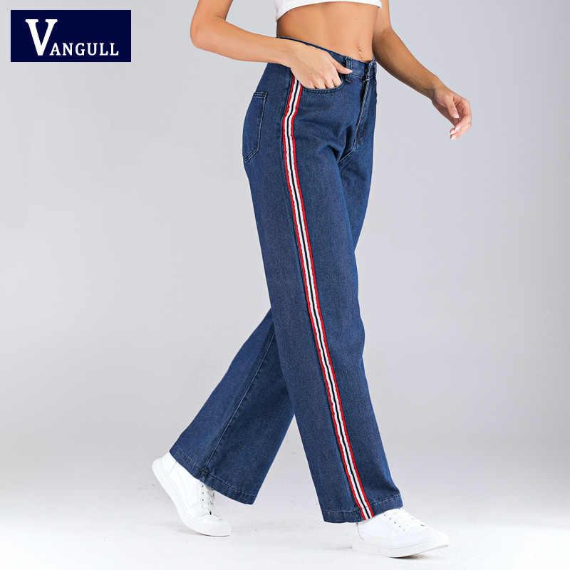Vangull 2019, осенние женские Стрейчевые джинсы большого размера, свободные джинсы плюс, повседневные укороченные женские джинсы-карго в полоску с завязками по бокам