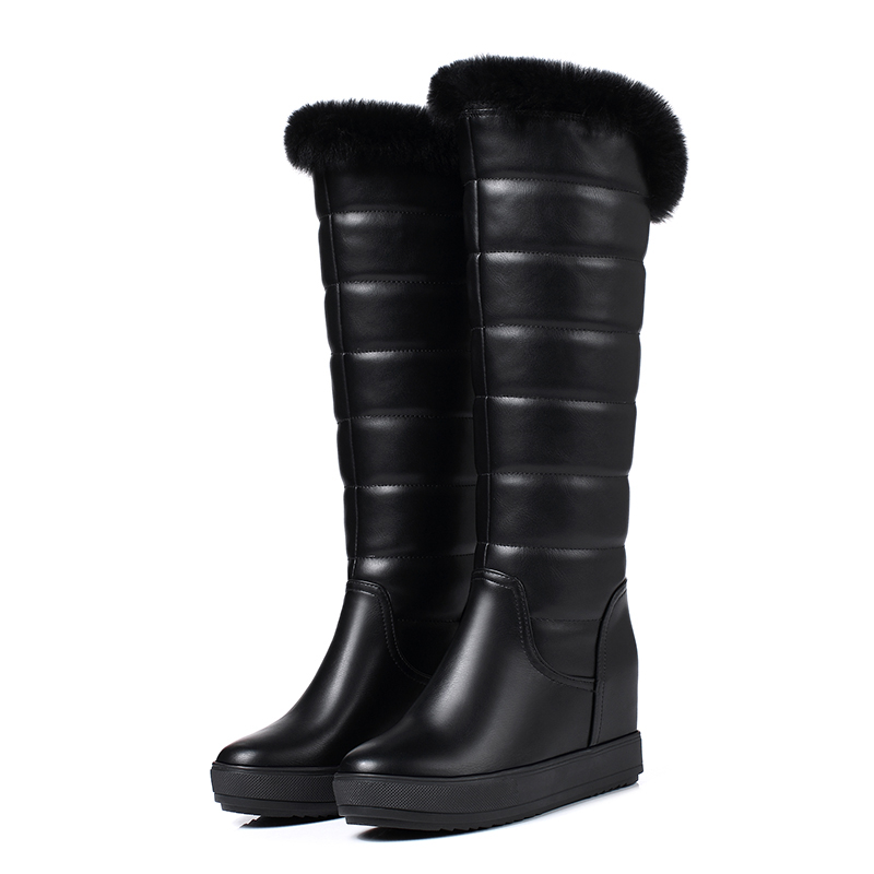 ФОТО Chinese sweet style round toe warm winter knee high boots rabbit hair slip platform high with increasing women motorcycle boots