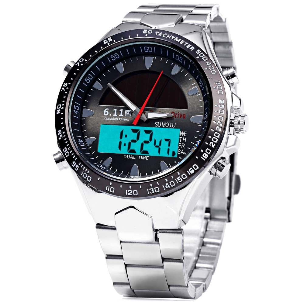 6 11 Men Solar Power LED Watch Sport Dula Time Zone Quartz Watch Stainless Steel Band