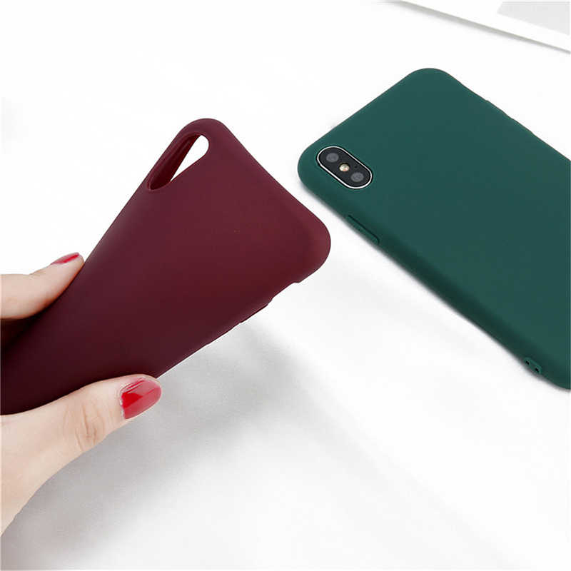 Silikon Lembut Permen Warna Case untuk iPhone X Max XR X 10 8 7 6 5 S 5 5 S 5SE 2020 7Plus 8 PLUS Ponsel Penutup Belakang Matte Pink Anggur