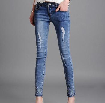 The new large size women 's jeans in the waist elastic pencil pants jeans image