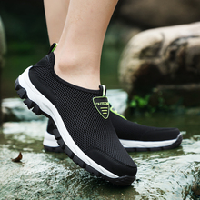 2018 Fashion Men Casual Shoes Slip-on Summer Breathable Air Mesh Men's Flats Trainers Sneaker Water Loafers Shoe Mens Yasilaiya runner print slip on water trainers