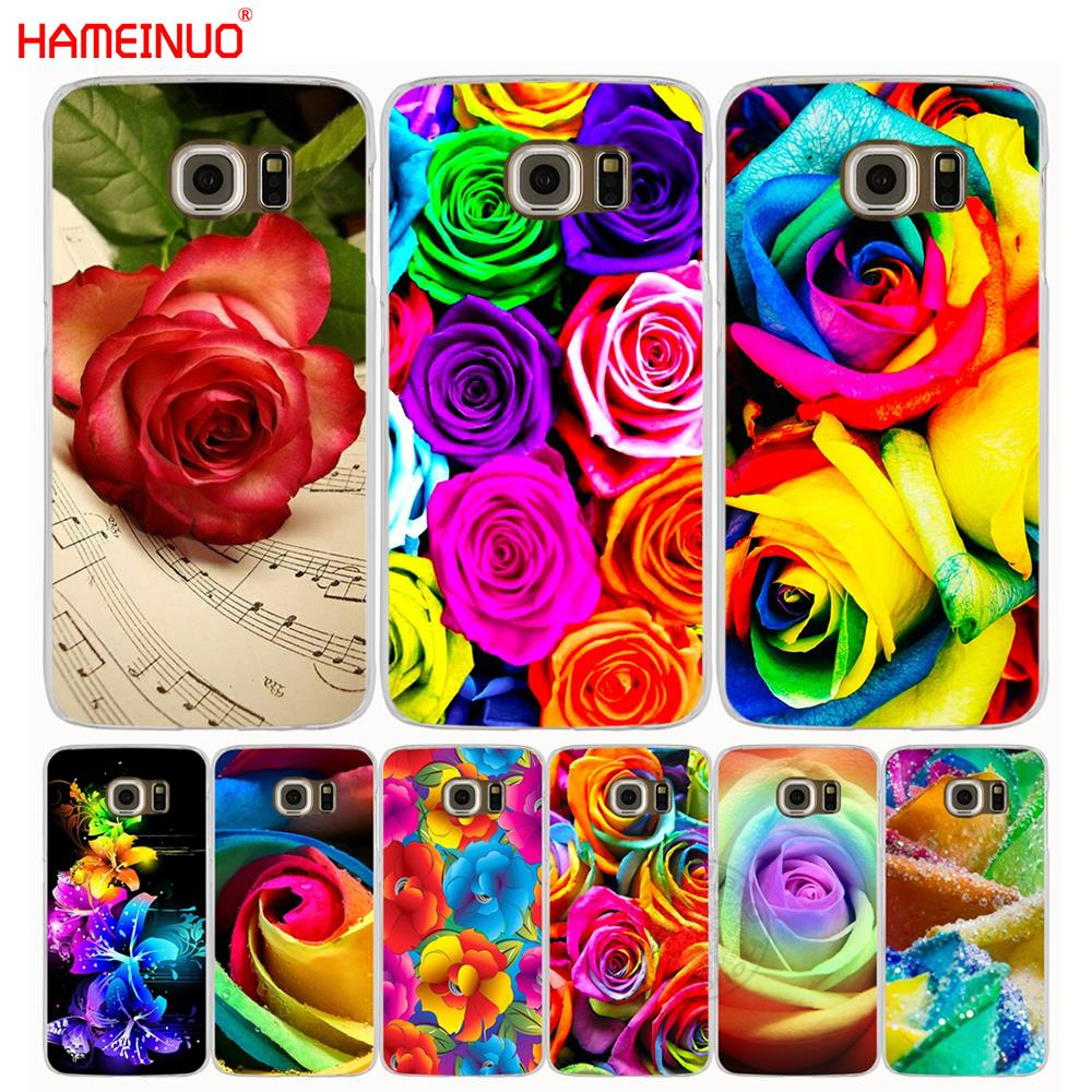 HAMEINUO flower rose color rainbow cell phone case cover for Samsung Galaxy S7 edge PLUS S8 S6 S5 S4 S3 MINI