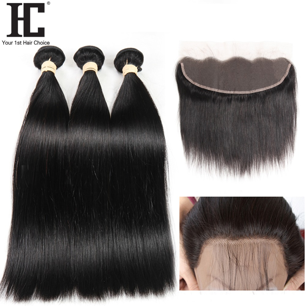 HC Straight Hair 3 Bundles With Frontal Brazilian Remy Human Hair Weave 13x4 Pre Plucked Lace Frontal Closure With Bundles 4 Pcs