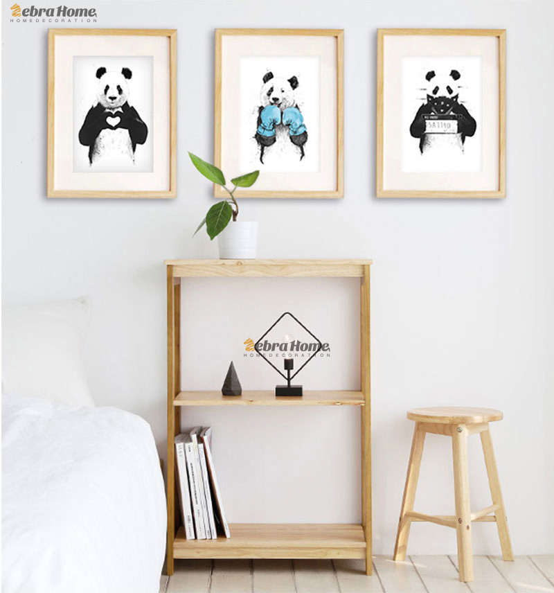 El Beraberlik Panda Kroki Tuval Sanat Baskı Poster Minimalist - Ev Dekoru - Fotoğraf 4
