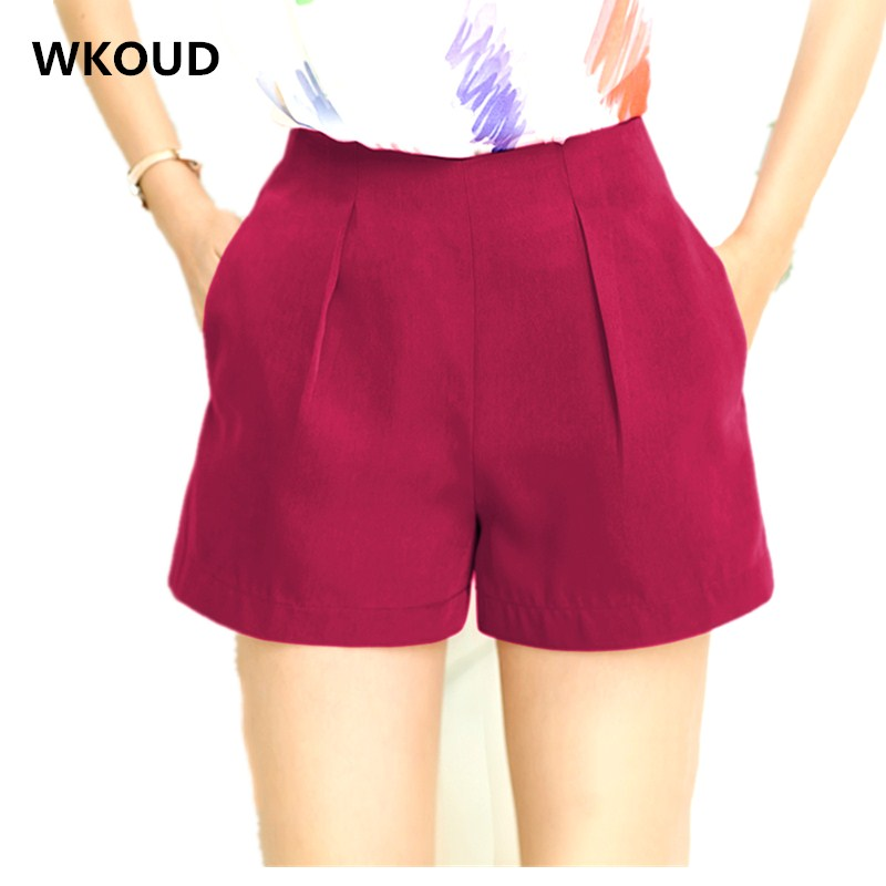WKOUD Summer Shorts For Women Candy Color High Waist Zip Up Shorts Female Chiffon Cool Plus Size Shorts Loose Hot Shorts DK6009
