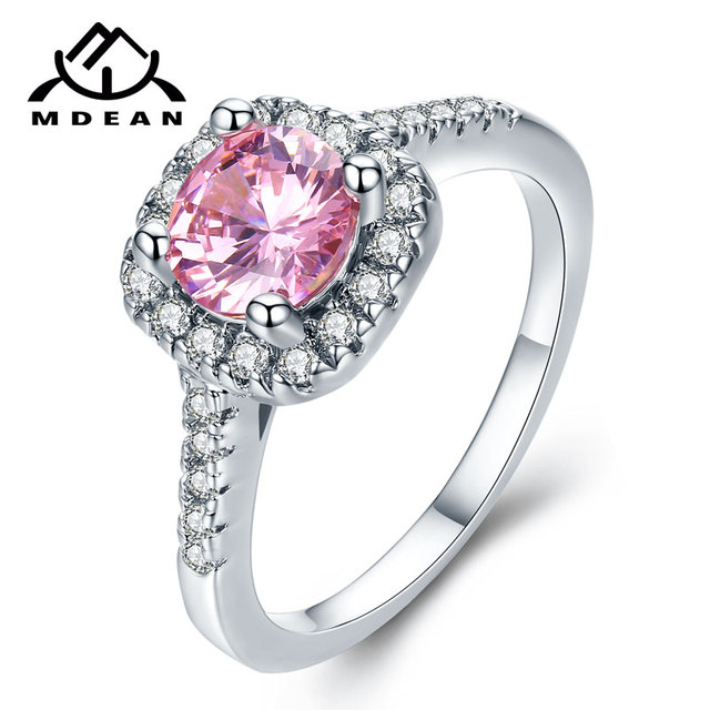 MDEAN White Gold Color Wedding Rings for Women Bijoux Ring Pink AAA Jewelry Bagu