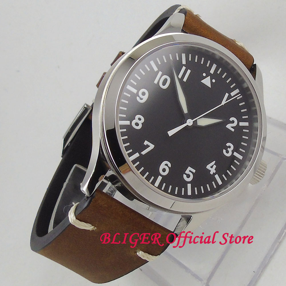 42mm Black Sterile Dial white marks Polished SS Case Sapphire Glass Leather Strap MIYOTA Automatic Movement Men's Watch 126 цена