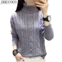 JKKUCOCO 2018 Hot Thick Warm Well Winter Sweater Women Sweaters Scarf Collar Flowers Knitted Sweaters Women