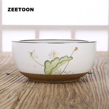 Japanese Style Coarse Pottery Hand Painted Lotus Tea Wash Kung Fu Tea Set Big Flower Pot Fish Bowl Teacup Wash Creative Ornament