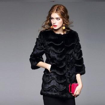 Wave embroidery fur coats women O neck 3/4 sleeve natural rabbit fur jacket woman real fur overcoat plus size 2019 autumn winter