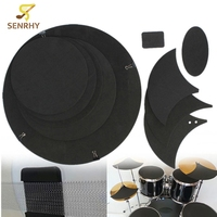 10Pcs Set Bass Snare Drum Sound Off Mute Silencer Drumming Rubber Practice Pad Musical Instruments For