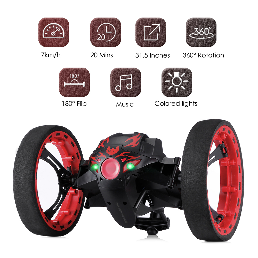 Paierge PEG-81 RC Car Upgrade Version Jumping Bounce Mini Cars Toy Flexible Wheels Rotation Music LED Light Robot Car Kids Gifts