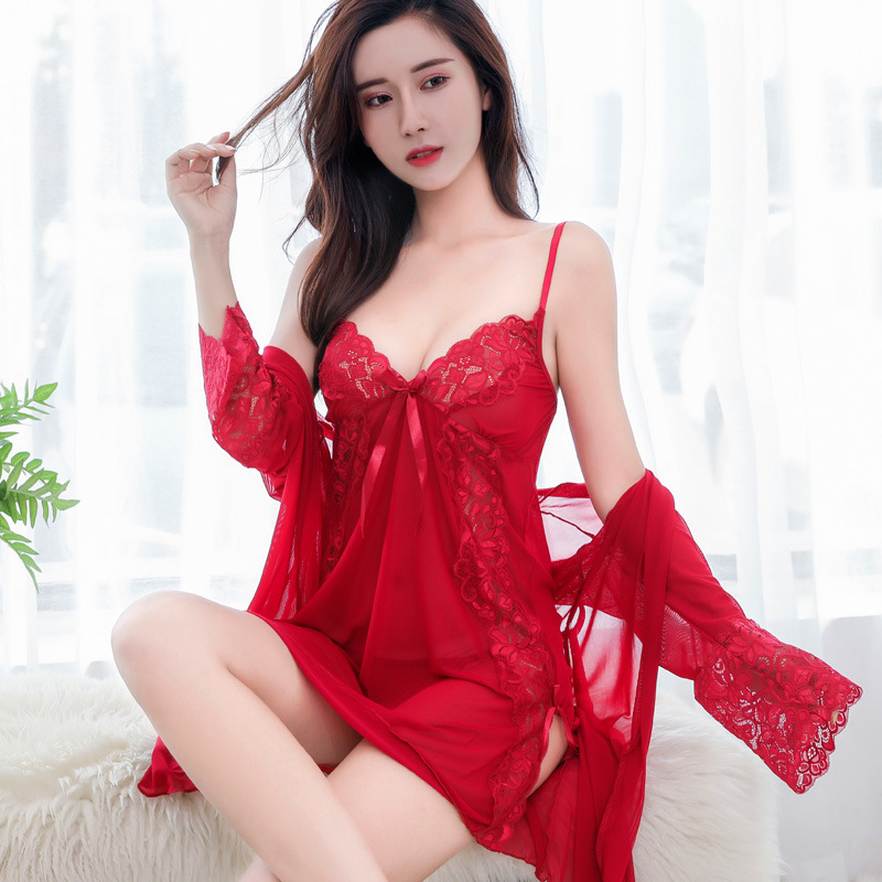 SEEDRULIA  Lace Long Lingerie Women Pijamas Dress Silk Transparent Nightdress Sexy Robe Gown Set Womens Pjamas Sleepwear Sets