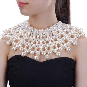 Image 1 - Collier épais pour femmes en 10 couleurs, collier et bavoir, ras du cou, fait à la main, bijou Maxi pour fête de mariage