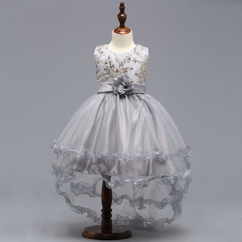 New Sliver Kids Pageant Evening Gowns 2018 Lace Ball Gown   Flower     Girl     Dresses   For Weddings First Communion   Dresses   For   Girls